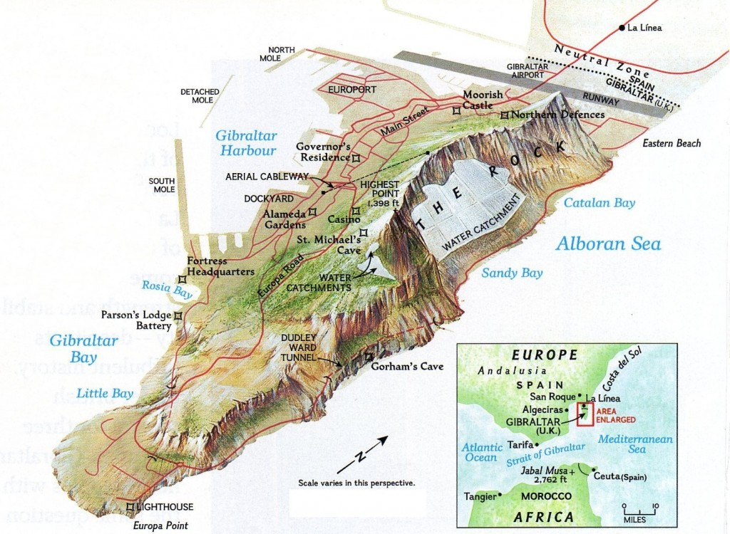 Gibraltar - Map of the Rock