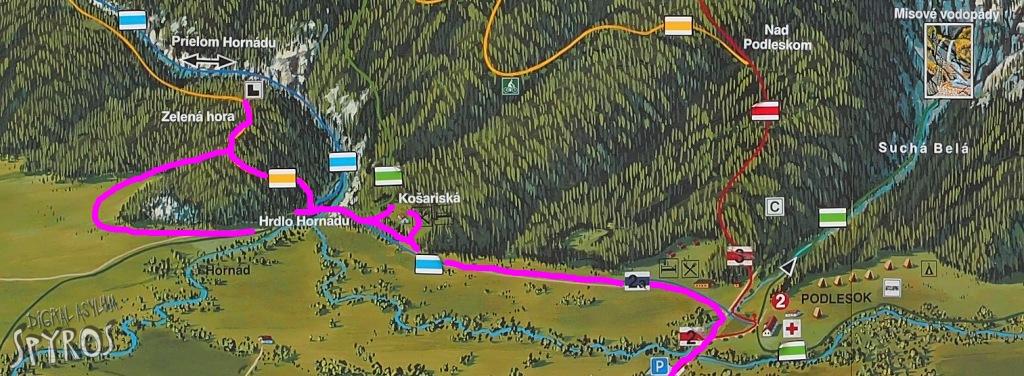 Hrabušický hrad - prístupová mapa