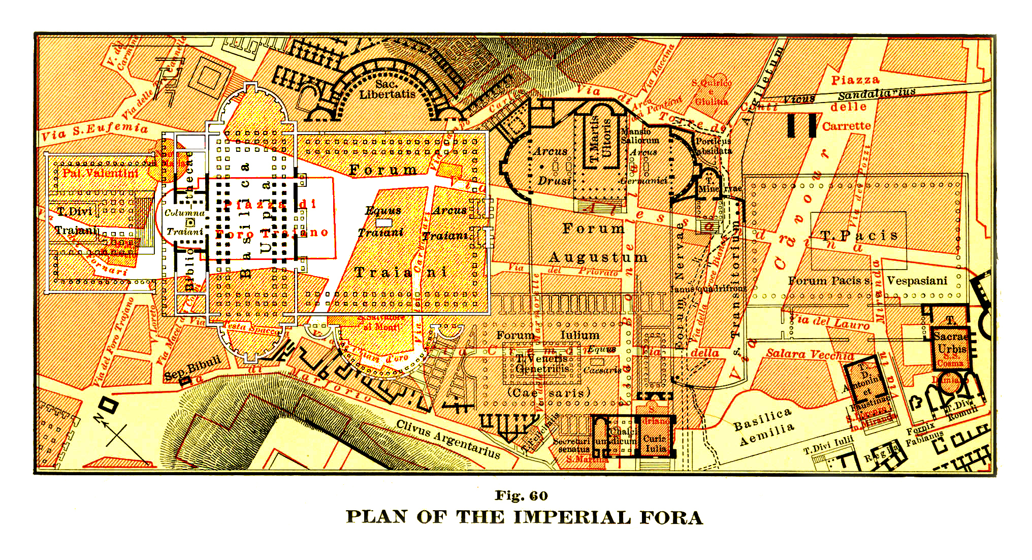 Imperial Fora - Map plan