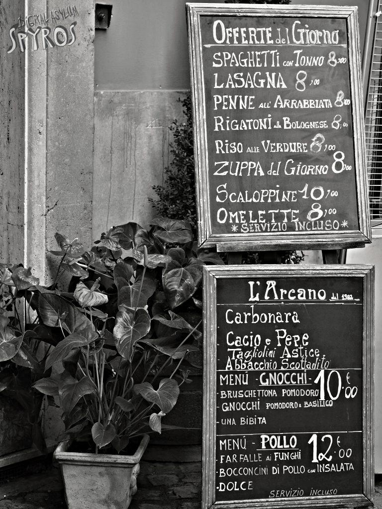 Via dei Pastini - Menu