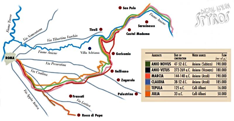Map rímskych akvaduktov
